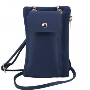 Tuscany Leather TL141423 TL Bag - Tracollina Portacellulare in pelle morbida Blu scuro