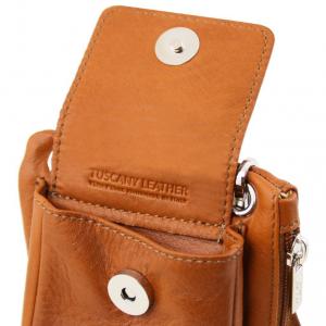 Tuscany Leather TL141423 TL Bag - Tracollina Portacellulare in pelle morbida Nero