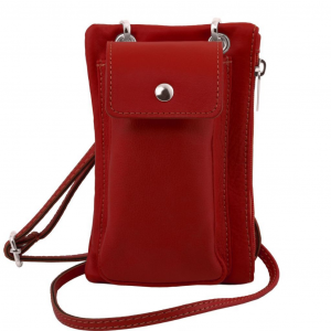 Tuscany Leather TL141423 TL Bag - Tracollina Portacellulare in pelle morbida Rosso