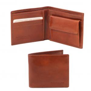 Tuscany Leather TL140761 Esclusivo portafoglio uomo in pelle 2 ante con portaspiccioli Marrone