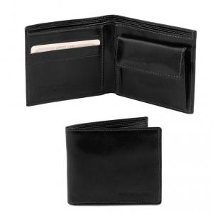 Tuscany Leather TL140761 Esclusivo portafoglio uomo in pelle 2 ante con portaspiccioli Nero