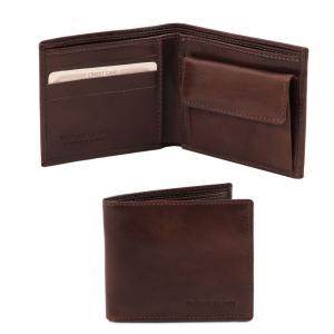 Tuscany Leather TL140761 Esclusivo portafoglio uomo in pelle 2 ante con portaspiccioli Testa di Moro