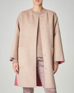 Cappotto reversibile rosa e cammello in pura lana vergine