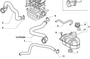 Manicotto superiore radiatore Fiat Punto 199 1.3MJTD, 51793304