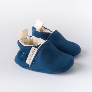 Scarpine neonato blu scuro in cotone biologico