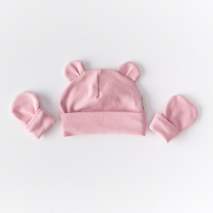 Cappellino con orecchie rosa in cotone biologico