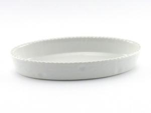 Pirofila Risottiera ovale in Porcellana Bianca Cordonata cm.48x29x5,7h