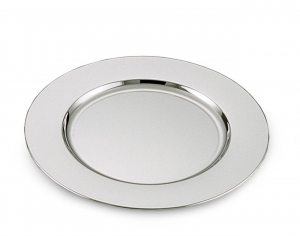 Sottopiatto argentato argento liscio stile Cardinale cm.diam.32