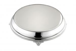 Vassoio sottotorta portadolce argentato argento tondo con piedi stile Perles cm.9h diam.48