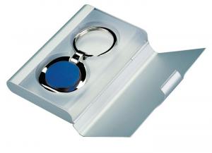 Portachiavi blu in metal box