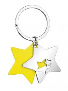 Portachiavi doppia stella gialla e acciaio