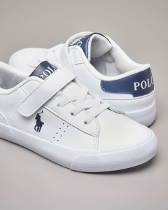 Sneakers bianche con chiusura a strappo e logo pony ricamato 27-33