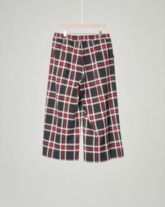 Pantalone cropped a quadri neri e rossi 10-16 anni
