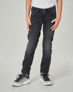Jeans nero skinny con salpa logata 10-16 anni