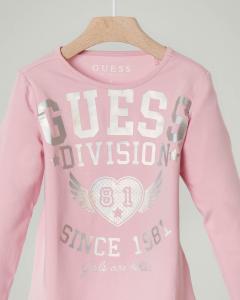 T-shirt rosa a manica lunga con stampa logo 3-7 anni