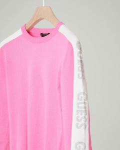 Maglia rosa girocollo con bande bianche e logo glitter 8-14 anni
