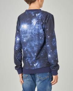 Felpa blu stampa universo e logo triuangolo 8-12 anni