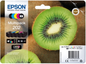 Epson Multipack 202 4.1ml 6.9ml 250pagine 300pagine Nero, Ciano, Magenta, Nero per foto, Giallo cartuccia d'inchiostro