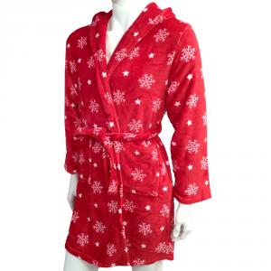 Vestaglia donna con cappuccio e babbucce in pile HAPPIDEA rosso