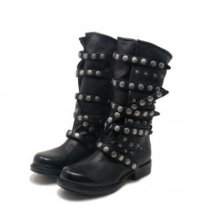 Stivali in pelle con lacci borchiati e cerniere laterali - A.S.98