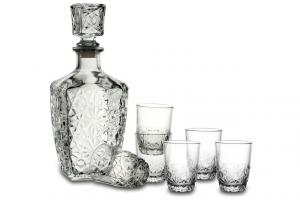 Servizio 7 Pezzi Liquore con bottiglia e bicchieri cm.19,5x22x10,3h