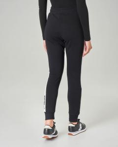 Pantalone jogger nero in acetato con banda laterale a contrasto con scritta logo