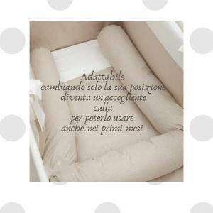 Babysanity - NUOVA COLLEZIONE  Riduttore paracolpi cilindro per lettino SFODERABILE cm 190 x 15 cm MISURA XL + lacci colorei lettino Panna related image