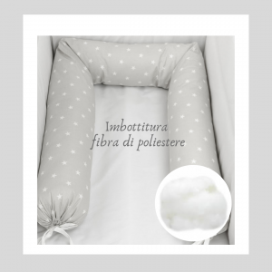 Babysanity - NUOVA COLLEZIONE  Riduttore paracolpi cilindro per lettino SFODERABILE cm 190 x 24 cm MISURA XL + lacci coloreTortora  related image