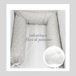Babysanity - NUOVA COLLEZIONE Riduttore paracolpi cilindro per lettino SFODERABILE cm 190 x 24 cm MISURA XL + lacci colore fantasia pois grigio  related image