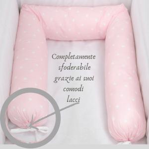 Babysanity -NUOVA COLLEZIONE Riduttore paracolpi cilindro per lettino SFODERABILE cm 190 x 15 cm MISURA XL + lacci colorefantasia stellina rosa related image