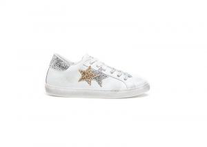 Sneaker 2star low bianco/silver/oro