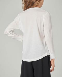 T-shirt bianca manica lunga con stampa e borchie applicate 8-14 anni