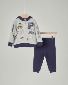 Completo maglia grigia e pantalone blu in felpa 6-24 mesi