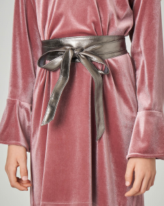 Cintura a fusciacca color argento in ecopelle