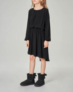 Abito nero in georgette elasticizzata con scollo a barchetta S-XL