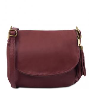 Tuscany Leather TL141223 TL Bag - Borsa morbida a tracolla con nappa Bordeaux