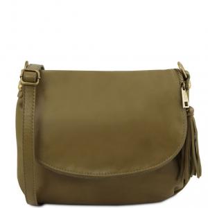 Tuscany Leather TL141223 TL Bag - Borsa morbida a tracolla con nappa Verde Oliva