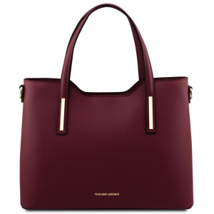 Tuscany Leather TL141412 Olimpia - Borsa shopping in pelle Bordeaux
