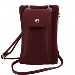Tuscany Leather TL141423 TL Bag - Tracollina Portacellulare in pelle morbida Bordeaux