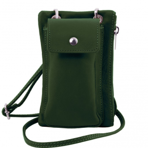 Tuscany Leather TL141423 TL Bag - Tracollina Portacellulare in pelle morbida Verde Foresta