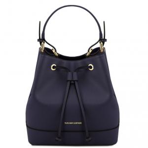 Tuscany Leather TL141436 Minerva - Borsa secchiello da donna in pelle Saffiano Blu scuro