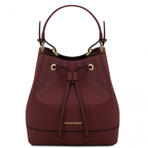 Tuscany Leather TL141436 Minerva - Borsa secchiello da donna in pelle Saffiano Bordeaux