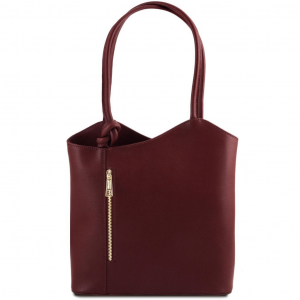 Tuscany Leather TL141455 Patty - Borsa donna convertibile a zaino in pelle Saffiano Bordeaux