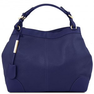 Tuscany Leather TL141516 Ambrosia - Borsa shopping in pelle morbida con tracolla Blu scuro