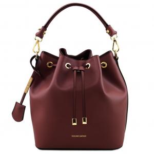 Tuscany Leather TL141531 Vittoria - Borsa secchiello da donna in pelle Bordeaux