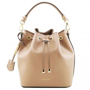 Tuscany Leather TL141531 Vittoria - Borsa secchiello da donna in pelle Champagne