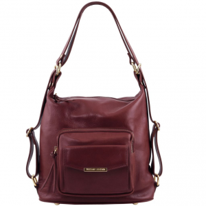 Tuscany Leather TL141535 TL Bag - Borsa donna in pelle convertibile a zaino Bordeaux