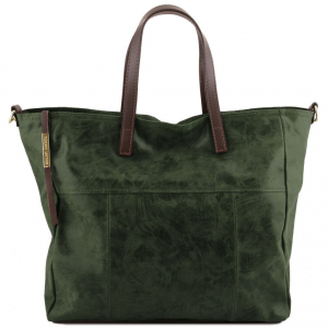 Tuscany Leather TL141552 Annie - Borsa shopping TL SMART in pelle effetto invecchiato Verde Foresta