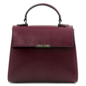 Tuscany Leather TL141628 TL Bag  - Bauletto piccolo in pelle Saffiano Bordeaux