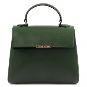 Tuscany Leather TL141628 TL Bag  - Bauletto piccolo in pelle Saffiano Verde Foresta